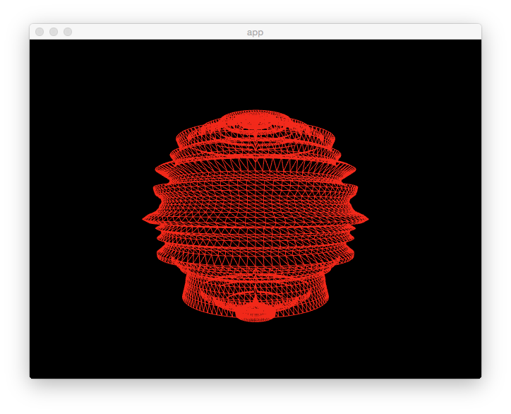 Red wireframe of a spherical deformed mesh